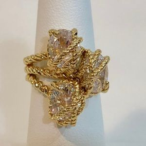 Charter Club Ring Sz 6 Crystal Rope Gold Tone